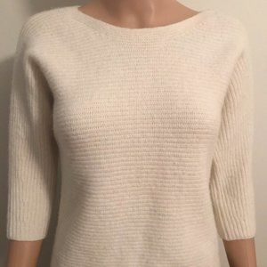 Ann Taylor cream sweater 3/4 sleeve wool cashmere